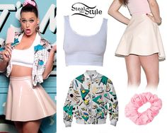 In her fourth look, Katy wore a Cotton Spandex Crop Tank, Lambskin Leather Circle Skirt and a Nylon Tricot Scrunchie, all from American Apparel with a Camila Walala Walala Bomber Jacket. #KatyPerry #Style #StealHerStyle