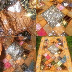 Vtge LARGE Shimmering Light Mirrored Indian Batik Handmade Throw Wall Hanging   | eBay