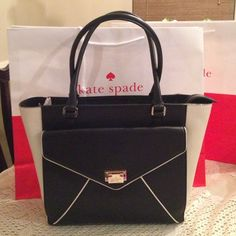 NWT Kate Spade Johanna tote NWT Kate Spade Johanna tote in black/porcln color ,very roomy with dust bag &shopping bag. kate spade Bags Totes