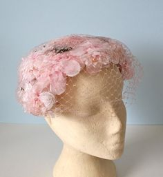 1950s Hat / Vintage Pink Floral Headband Hat / by FoxyBritVintage