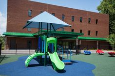 Child Care Playground Ideas! This 2-5 structure feature age-appropriate slides and climbers to present just enough challenge for this playground's youngest users.