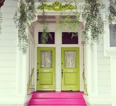 green and magenta colors feng shui front doors