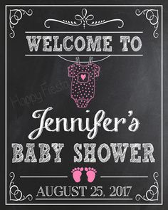 PRINTABLE Baby Shower Welcome Sign-Personalized Welcome To Baby Shower Chalkboard-Baby Shower Welcome Print-Baby Shower Chalkboard Baby Shower Crafts, Baby Shower Parties, Baby Shower Themes, Baby Shower Decorations, Shower Party, Shower Gifts, Shower Ideas, Baby Shower Welcome Sign, Baby Shower Signs