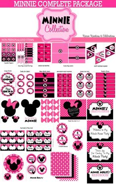 MINNIE MOUSE Party Printables - Pink Minnie Mouse Complete Package - Girls Birthday  - Girl First Birthday - Little Girl - Krown Kreations