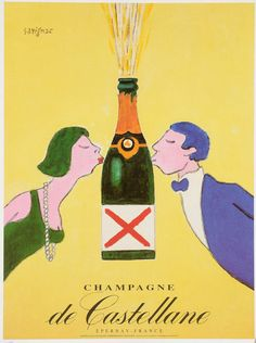 Vintage French Poster - Champagne de Castellane by Savignac Vintage Champagne, Vintage Wine, Vintage Ads, French Vintage, Vintage Italian Posters, Vintage Advertising Posters, Vintage Advertisements, Wine Poster, Valentine's Day Poster