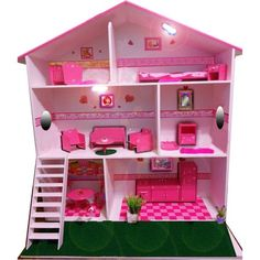 cool mostly pink dollhouse! Pink Dollhouse, Cardboard Dollhouse, Cardboard Crafts, Barbie Doll Set, Barbie Doll House, Barbie Dream, Animal Crafts For Kids, Diy For Kids, Barbie Furniture
