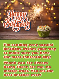 Send Free Sparkling Frosted Cupcake - Happy Birthday Card for Brother to Loved Ones on Birthday & Greeting Cards by Davia. It's free, and you also can use your own customized birthday calendar and birthday reminders. Happy Birthday Brother Wishes, Unique Birthday Wishes, Brother Birthday Quotes, Birthday Cards For Brother, Birthday Reminder, Birthday Wishes Quotes, Happy Birthday Funny, Birthday Messages, Birthday Greeting Cards
