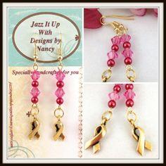 Pink Swarovski Crystal Breast Cancer Awareness Handmade Beaded Earring