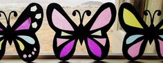 """""""Stained Glass"""" Tissue Paper Butterflies."""