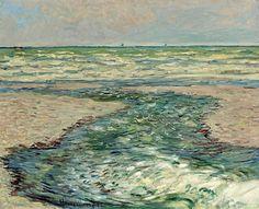 The Seacoast of Pourville, Low Tide - Claude Monet.I love Monet! Claude Monet, Monet Paintings, Landscape Paintings, Artist Monet, Art Japonais, Pierre Auguste Renoir, Camille Pissarro, Impressionist Paintings, Land Art