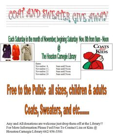 Coat & Sweater Give Away @ Houston Carnegie Library