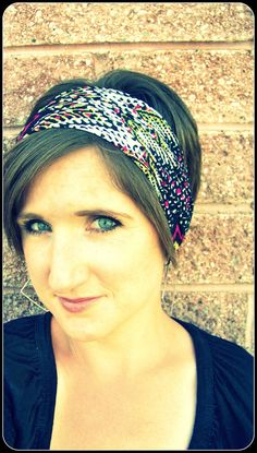 Simple Boho Wide Stretch Headband  Lime and Black Zig Zag by LCDecorStudio, $10.00