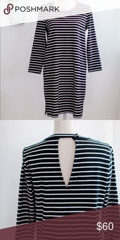 19613b1d55f Madewell black and white stripe dress Like new! Warm and cozy! Madewell  Dresses Delish