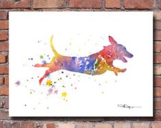 Dachshund Art Print Abstract Watercolor Painting Wall