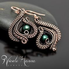 Wire Wrap Pearl Earrings