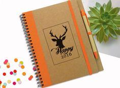 A Personalised Notebook - Happy New Year Gift, 2016 Personal Journal  Lined recycled white paper notebook for any purpose: Writing down your thoughts