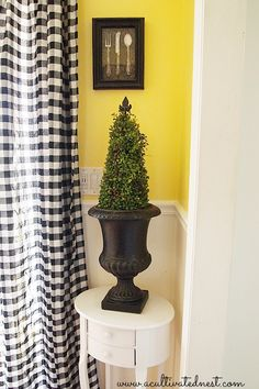 Cottage style - Black & White check curtains & faux topiary