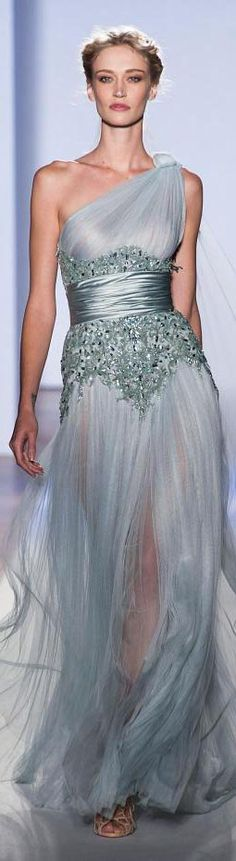 Zuhair Murad ~ Haute Couture One Shoulder Soft Blue Gown Embellishments 2013 Zuhair Murad, Beautiful Gowns, Beautiful Outfits, Gorgeous Dress, Elegant Dresses, Pretty Dresses, Couture Fashion, Runway Fashion, Gothic Fashion