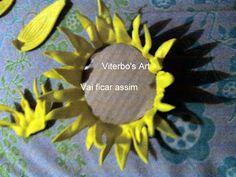 Flores em E.V.A. / PET / Meias de Seda: Girassol em e.v.a passo a passo