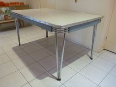 Huge 8 Seater Retro Laminex Chrome Steel Dining Table 1950s Stunning Cond
