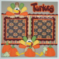 paper piecing thanksgiving | ... Thanksgiving Premade Scrapbook Page Paper Piecing Turkey Boy Girl