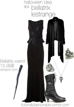 Halloween Idea #4: Bellatrix Lestrange by fictionallyfashionable featuring a fishtail skirt A Halloween costume idea for Bellatrix Lestrange...