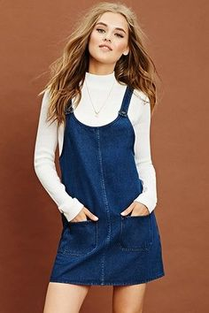 Take a look at the best denim shift dresses in the photos below and get ideas for your own outfits! A denim shift dress featuring a scoop neckline, two front pockets, a button front, and a sleeveless cut. Modest Fashion, Fashion Outfits, Fashion Trends, Overalls Fashion, Look Fashion, Autumn Fashion, Fashion Women, Style Feminin, Hijab Style