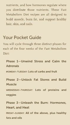 Pocket guide for The Fast Metabolism diet