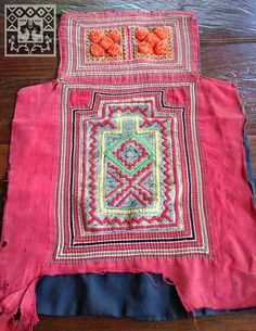 Vintage Hmong fabric Handmade embroidered Pink Batik Baby carrier pompom Textile