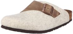 Birkenstock Clogs ''Basel'' from Leather/Wool in Tobacco Brown/Beige with a regular insole Birkenstock. $84.80. Comfort Footbed. EVA sole. Slip On with buckle. Wool / Oiled Leather. Waxy Leather/Wool. Unisex