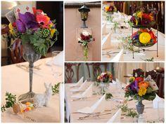 [ 会場装花:アリスインワンダーランド ] アリス・イン・ワンダーランドをテーマにカラフルなパーティー装花。 物語に出てくるトランプの兵隊をイメージして、トランプをアクセントに飾ったアレンジに。花がカラフルな分、器はシックな方がまとまります。