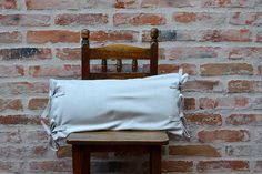 Beige Washed Cotton Pillow with laces Pure Cotton Cushion