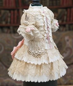Very Beautiful Antique Silk Needlepoint Lace Couturier Dress for doll from respectfulbear on Ruby Lane
