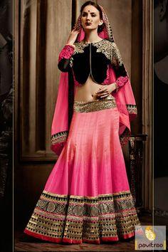 #Pink #Black Georgette Net Embroidery Work Designer Lehenga Choli #lehenghs, #lehenghacholi, #designer, #wedding, #westernstyle, #lehenghacholis, #bridal, #latest, #Indianfashion, #indian, #shaddi, #marriage, #ethnicwear,   #newcollection, #discountoffer, #weddingreception, #engagement, #bridesmaids, #lehenghastyle, #heavyworked More Product : http://www.pavitraa.in/catalogs/latest-fashion-trends-indian-lehenga-cholis-for-new-year/ Call / WhatsApp : +91-76982-34040