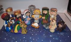 OOAK Polymer Clay Nativity Set 13 pieces Free por AlishaTodd