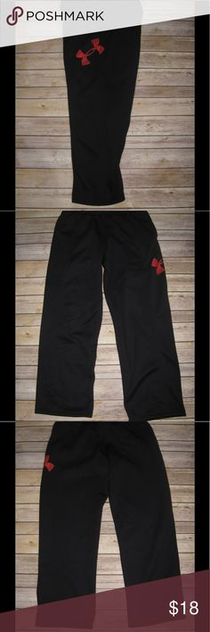 Under Armour Storm 1 Athletic Sweatpants Black w/ red logo. Drawstring waist & slip pockets. In very good condition. Ask any questions! 📦Same/ Next Day Shipping 🚫Paypal/ Trades ✅Bundles 🚫Smoke Free Under Armour Bottoms Sweatpants & Joggers