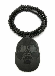 Black Rick Ross Pendant With A 8mm 36 Inch Beaded Necklace Chain JOTW 995