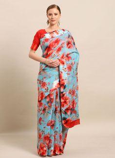 Cotton Casual Floral Print Saree Floral Print Sarees, Printed Sarees, Floral Prints, Salwar Kameez, Kurti, Celebrity Gowns, Casual Saree, Latest Sarees, Fabric Shop