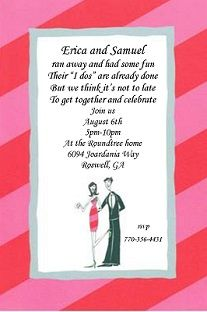 Wedding party invitations after marriage the charming verse in elopement party invitations great idea for our invites since we will be married and having stopboris Gallery