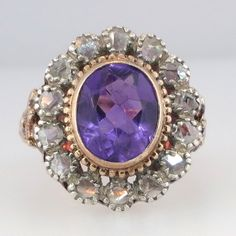 Rare Stunningly Beautiful Amethyst & Old Cut Diamond Ring 18k | Antique And Estate Jewelry | Jewelry Finds