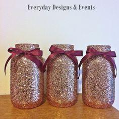 Rose gold and burgundy mason jar centerpiece, mason jars, wedding centerpiece, rose gold decor wedding decorations, burgundy and gold, party by EverydayDesignEvents on Etsy https://www.etsy.com/listing/541650195/rose-gold-and-burgundy-mason-jar