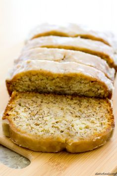 This homemade banana bread is moist, packed with classic banana flavors, and topped with a maple glaze!