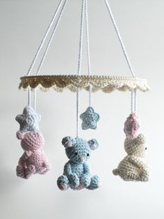 This lovely crochet baby mobile with cute baby teddy bears, little friends for a newborn, makes a beautiful, one of a kind baby shower gift. The baby mobile is made out of 100% cotton yarn in blue, pink, beige and white. It is ideal to hang over a baby crib, baby changing table or simply anywhere in the nursery just to brighten up the babys room. The item is handmade with love and care. Color: blue, pink, beige, white Material: 100% cotton yarn, polyester fiberfill, metal ring Size…