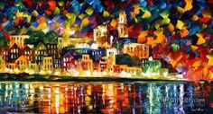Leonid Afremov Fiesta In The Harbor oil painting reproductions for sale