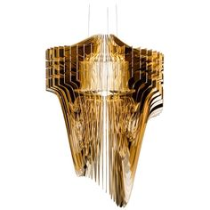 Slamp Aria Medium Pendant Light In Gold By Zaha Hadid