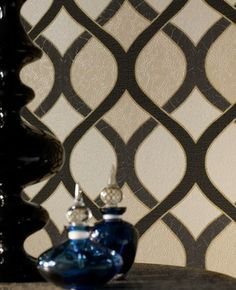 30-810 Premier Vinyl Highbury: Black/Gold Black,Beige Geometric Wallpaper