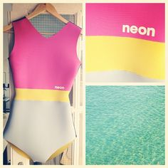 Neon Wetsuits - Girl Surfer Swimsuit Wetsuit. Neon Wetsuits - these are beautiful, bright, custom-made wetsuits from Newquay in Cornwall, UK.  They are designed and handcrafted by Elsie Pinniger.