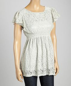 Look what I found on #zulily! Gray Lace Silk-Blend Empire-Waist Top #zulilyfinds