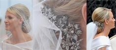 Princess Charlene wearing a diamond hair ornament that she borrowed from Princess Caroline for her wedding to Prince Albert II of Monaco