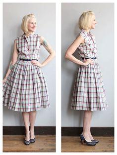 1950s Dress Set // Plaid Kerrybrooke Blouse & by dethrosevintage